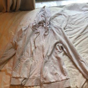 Heathered-gray zip-up hoodie